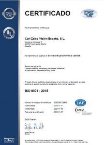 Carl Zeiss Vision España añade la certificación ISO 9001:2015